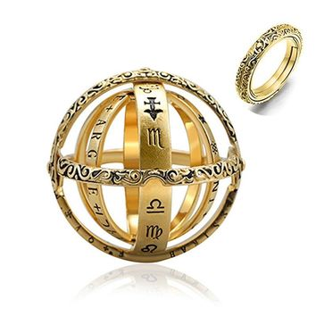2019 Astronomical Sphere Ball Ring Open Locket Cosmic Finger Ring Couple Lover Jewelry Gifts for Women Men Accessories