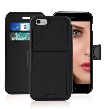 ONETOW iPhone 6/6S Leather Wallet Case with Cards Slot and Metal Magnetic, Slim Fit and Heavy Duty, TAKEN Plastic Flip Case / Cover with Rubber Edge, Gift for Women, Men, Boys, Girls, 4.7 Inch (Black)
