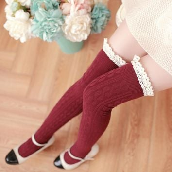 Feitong Womens Fashion Thigh High Socks Sexy Lace Warm Knit Crochet Over Knee Socks Solid Long Stockings For Girls Autumn