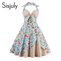 Sisjuly summer vintage dress patchwork sleeveless blue A-line party dress bowknot V-neck Chinese painting style vintage dresses
