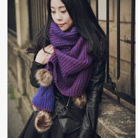 Purple Knitted Long Scarf