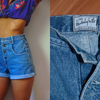 Vtg High Waist Beverly Hills Denim Button Up Shorts