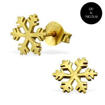 Solid 925 Sterling Silver + 14K Gold Plated Snowflake Earrings
