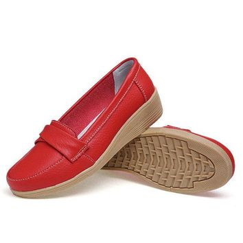 Pure Color Buckle Leather Wedge Heel Loafers For Women