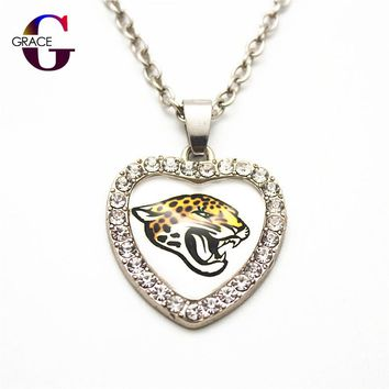 Fashion Jacksonville Jaguars Football Sports Charms Heart Crystal Necklace Pendant With 50cm Chains For Women Men Diy Jewelry