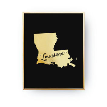 Louisiana Print, Louisiana State Print, Real Gold Foil Print, USA State Poster, Louisiana State Map, Gold USA State, Louisiana Silhouette,