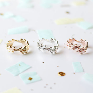 leaf around ring | leaf ring | wrapped leaf ring | dainty ring | delicate ring | minimalistic ring | silver ring | rose gold ring | gold