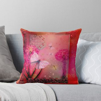 'Wonderful butterflies with dragonfly' Throw Pillow by nicky2342