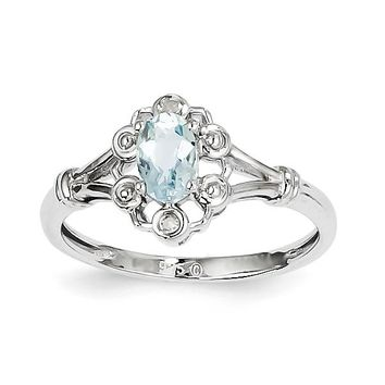 Sterling Silver Oval Genuine Aquamarine & Diamond Accented Ring