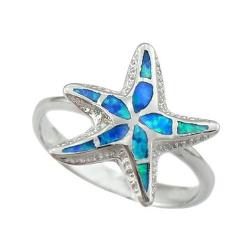 HAIMIS Ring Box Star Shape Lovely Blue Pink White Green Brown Fire Opal Unisex Opal Ring size 6 7 8 9 10 OR858