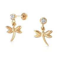 Bling Jewelry Dragonfly Girls Safety Screwback Dangle Earrings Gold Filled