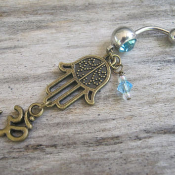 Hamsa Om Belly Ring, BRONZE Hamsa Belly Button Ring, Buddhist Om Belly Piercing, Hand of Fatima, Yoga Inspired, Buddhist Body Jewelry