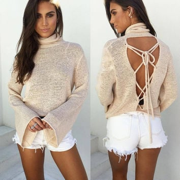 Long Sleeve Bat Winter Knit Tops [9284390084]