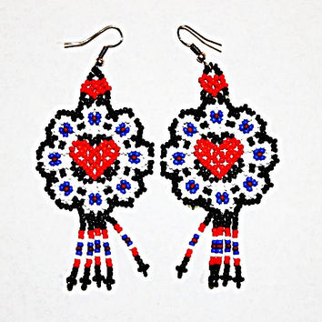 Native American Heart Earrings - Beaded Heart Huichol Jewelry Huichol Earrings Womens Earrings - Valentines Day Gift - Cute Heart Earrings
