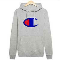 Champion new hooded autumn and winter men's sweater Gray