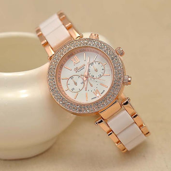 Awesome Great Deal Good Price Gift New Arrival Designer's Trendy Stainless Steel Band Stylish Diamonds Alloy Watch [8863749127]