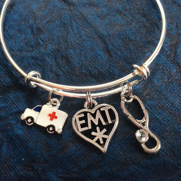 Stethoscope Ambulance and EMT Medical Charm on a Silver Expandable Adjustable Bangle Bracelet Paramedic EMT One Size Fits All