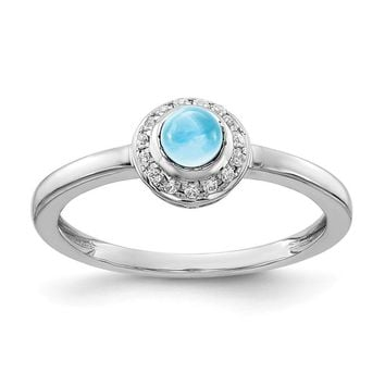 14k White Gold Diamond Halo And Round Swiss Blue Topaz Cabochon Ring
