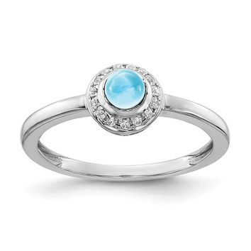 14k White Gold Diamond Halo And Round Swiss Blue Topaz Ring