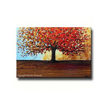 CUSTOM Original Art Abstract Painting Red Tree of Life Modern Textured Autumn Fall Blue Brown Gold