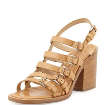 Michael Kors Collection Marie Runway Leather Buckle Sandal, Peanut