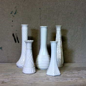 white milk glass bud vases set of 5 // vintage shabby chic wedding shower vases