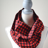 Black and Red Plaid Flannel Infinity Scarf - Ready to Ship