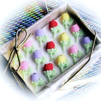 48 Decorated Sugar Cubes - Rosebud