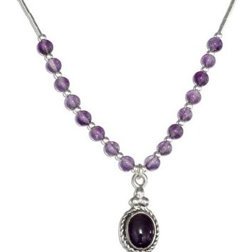 """Sterling Silver 16"""" Southwest Liquid Silver Oval Amethyst Necklace"""