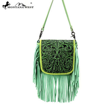 Fab Lime Tooled Leather Cross Body Montana West Bag RLC-L085