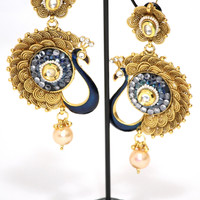 Dancing Peacock Large Earring Design 1