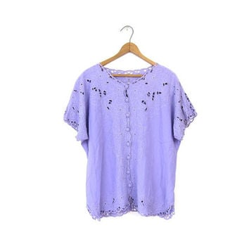 Lilac Purple Cut Out Blouse BALI Boho Boxy Shirt CUTWORK Short Sleeve Embroidered Top Slouchy Tee Button Up Bohemian Hippie Tshirt Vintage