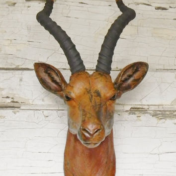 Faux Taxidermy, Faux Antelope Head, Deer Head, Faux Animal Head, Stag Head, African Decor, Animal Head, Antelope Head,African Safari Decor