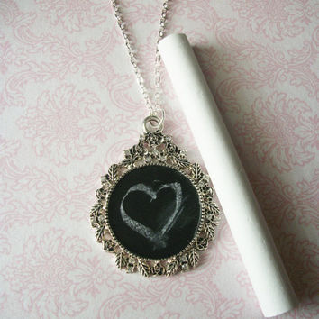 BLACK FRIDAY SALE Cyber Monday 25% Off Handmade Ornate Circle Chalkboard Necklace, Unique Gifts