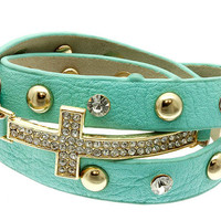 Glamorous mint leather triple wrap chunky bracelet - gold plated cross rhinestones studs fashion celebrity inspired summer spring 2013