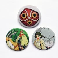 "Studio Ghibli´s Princess Mononoke 3x1.5"" pinback button badge from Stickerama"