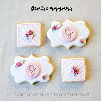 White and Pinks Roses & Monogram Cookies - Decorated Sugar Cookies - 24 pcs or 2 dozen