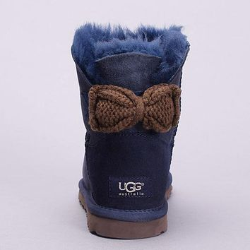 UGG Fashion Women Bow Fur Leather Wool Snow Boots Short Boots Shoes4