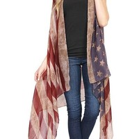 Women's American Flag Duster Cardigan Vest Red/White/Blue: One Size