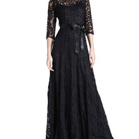 Women's Floral-Lace Gown - Rickie Freeman for Teri Jon - Black