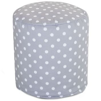 Gray Ikat Dot Small Pouf