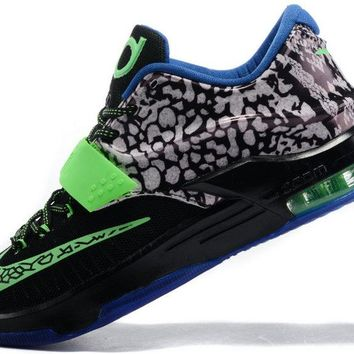 2018 Newest KD 7 Electric Eel Metallic Pewter Flash Lime Anthracite Lyon Blue 653996 030 Brand sneaker