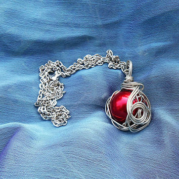 Final Fantasy, Red Materia Necklace, wire wrapped pendant, FF7, final fantasy jewelry, videogame jewelry