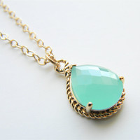"Aqua/Mint Faceted Glass Stone Pendant on 24"" Matte Gold Chain Necklace"