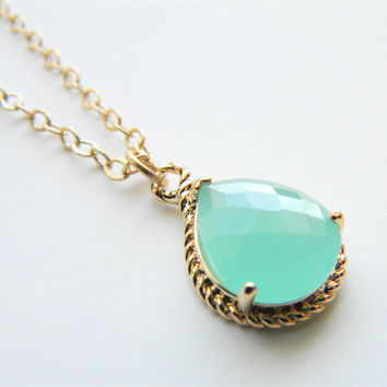 Aqua/Mint Faceted Glass Stone Pendant on 24inch Matte Gold Chain Necklace