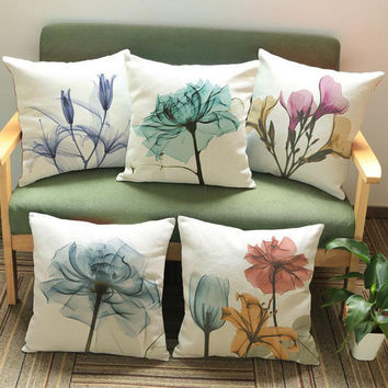 45*45cm Hand Painted Beautiful Flowers Printed Short Soft Plush Decorative Throw Pillow Cushion For Office Chair