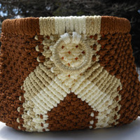 Clutch Handbag Crochet Spring Closure Brown Tan Ivory Summer Beach Boho Mother's Day Easter
