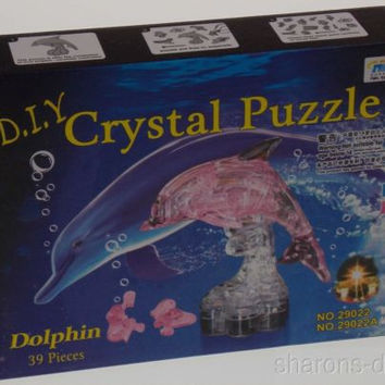 "Lot 2 DIY 3D Crystal Dolphin Figurine Puzzles Model Pink Clear Stand 4"" Jigsaw"