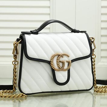 GUCCI Women Leather Chain Crossbody Satchel Shoulder Bag