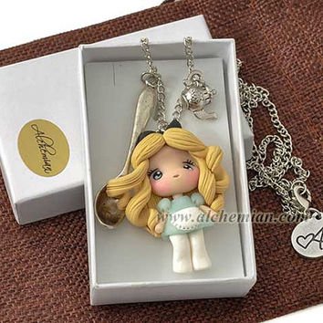 Alice in Wonderland with spoon character necklace handmade handmolded in polymer clay